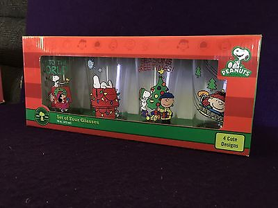 4 Peanuts Christmas Glasses Set 16oz Snoopy 4 Designs Charlie Brown 2014