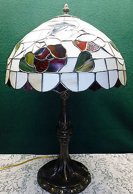 """Tiffany Style Floral Roses Flowers Stained Glass Table Lamp Red 25"""" Tall"""