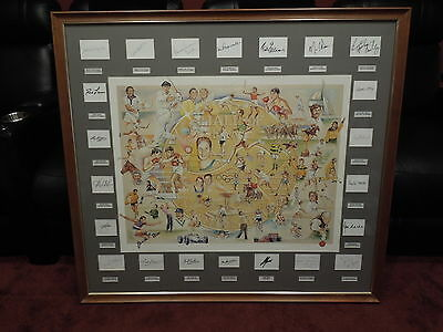 Australian Hall Of Fame large framed hand signed print by 22 legends