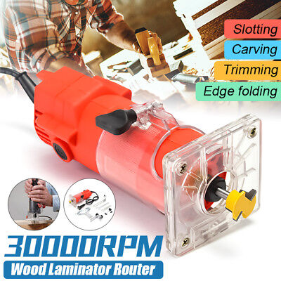 220V 300W 30000RPM Trim Router Edge Wood Clean Cuts Power Woodworking Tool Set