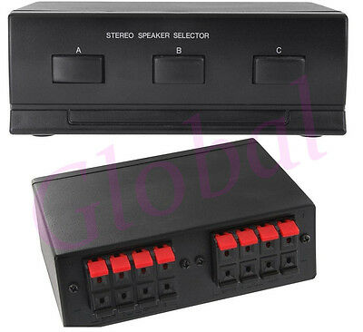 NEW - 3-Way Zone Room Stereo Speaker Selector Switch Box 100W Channels - SS3