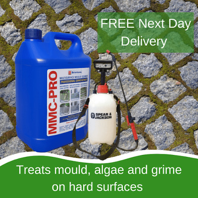 5L Mmc Pro Moss Killer Hard Surface Cleaner Clear Algae Driveway Patio With 5L S