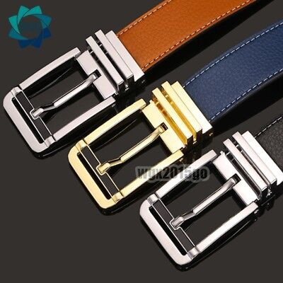 AU Mens Classic Jeans Belt High Quality Leather Strap Pin Metal Buckle Waistband