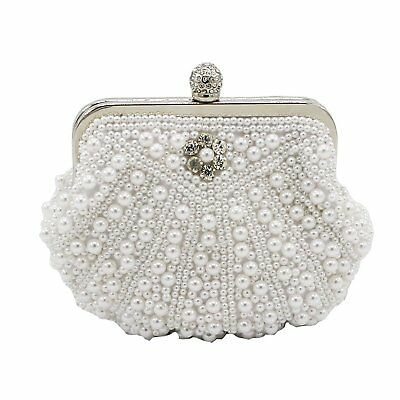 Kingluck Clutches With Pearls For Wedding/Special Occasion More Colors white