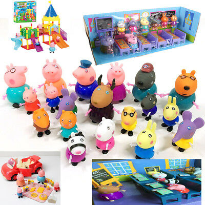 19PCS Cute Peppa Pig Family Friends Emily Rebecca Suzy Action Figures Toys Kids