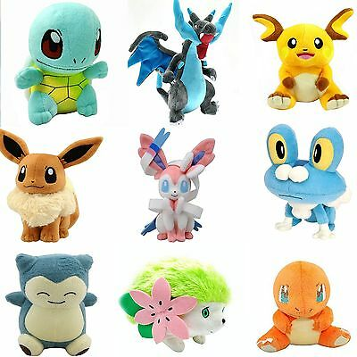 Rare Cute Pokémon family Plush Character Soft Toy Stuffed Doll Teddy Xmas Gift #