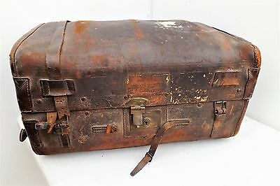 Antique Trunk in leather and wood