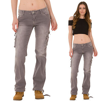 4e4e9d9366b42 New Ladies Womens Grey Faded Wide Loose Denim Combat Pants Stretch Cargo  Jeans