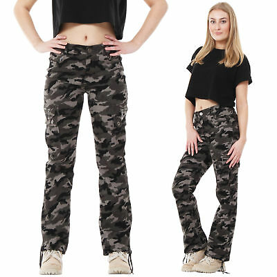 Womens Green Army Military Camouflage Wide Leg Cargo Pants Jeans Combat Trousers