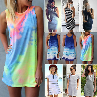 Women Summer Casual Short Mini Dress Tops T-shirt Holiday Beach Sundress Dresses