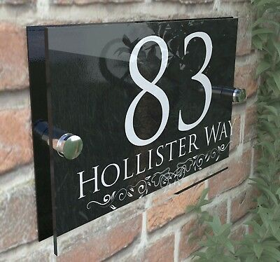 Personalised Classic House Sign Door Number Street Address Plaque Modern Glass