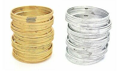 Pack Of 36 Plain Gold Silver Indian Churi Kangan Bollywood Jewellery Bangles