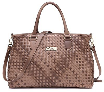 NNEE® Medium Hand Woven Leather Tote Bag Satchel with Multiple Pocket Design -