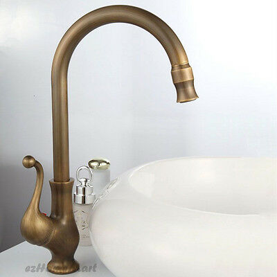 Swivel Spout Antique Brass Kitchen Sink Mixer Basin Tap Tall House Deck Faucet