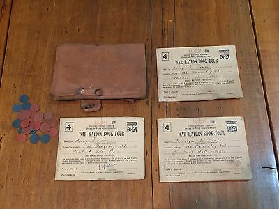 Vintage Lot of 3 WWII Homefront War Ration Books with Leather Case and Tokens