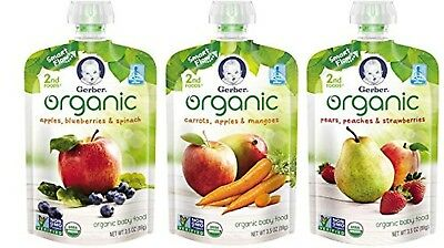Gerber Organic 2nd Foods Baby Food Variety Pack 1 3.5 oz Pouch (Pack of 18)