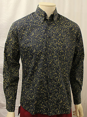 Mens 1960's Style Navy/Beige Paisley shirt 60s Mods Northern Soul Mod shirt