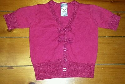 BABY GIRLS Sz 00 (3-6mths) pink TARGET knit bolaro CUTE! SWEET! GLITTER THREAD!
