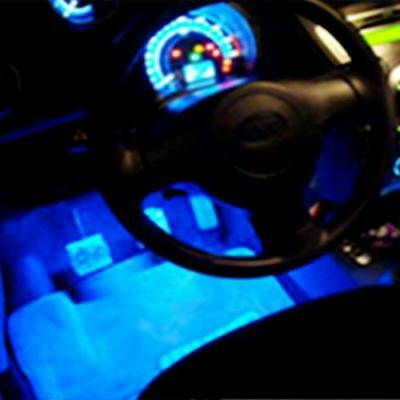 4pcs 3 LED Lamp Glow Neon Light Interior Blue lighting for Car Van Vehicle New