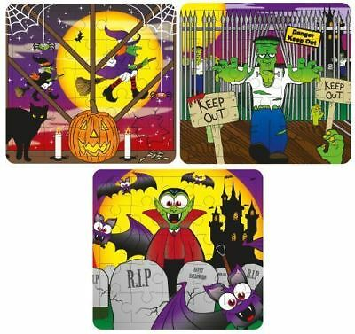 6 Halloween Jigsaw Puzzles - Pinata Toy Loot/Party Bag Fillers Kids