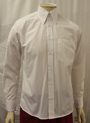 Mens Mans 1960s White Button down shirt 60's 70's Mods Northern Soul Mod shirt
