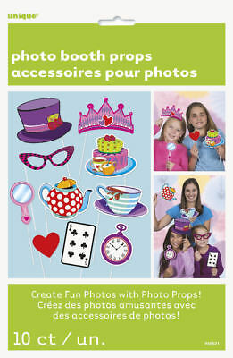 10 Mad Hatter Tea Party Photo Booth Props - Birthday Decoration Picture