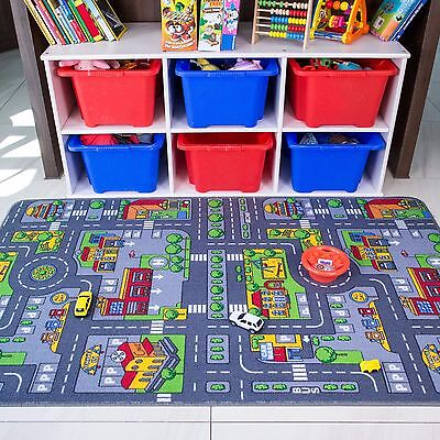 Children's Kids Rugs Town Road Map City Cars Toy Rug Play Village Mat 95 x 133cm