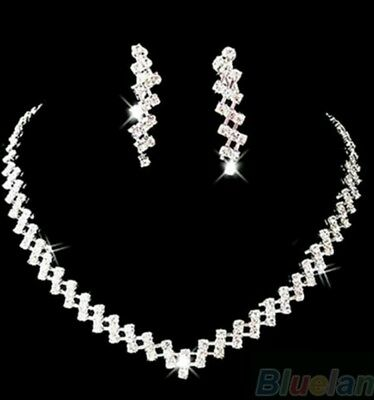 Silver Wedding Jewelry Set Crystal Rhinestone Diamante Necklace Earrings set