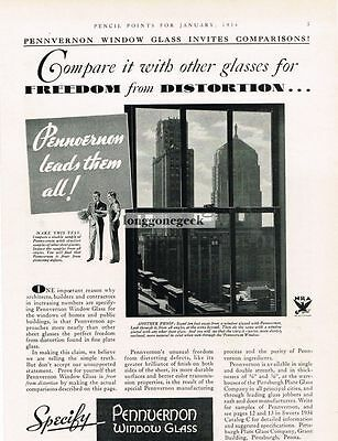 1934 Pennvernon Plate Glass Co. Window Freedom From Distortion Vtg Print Ad