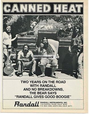 "1978 Randall Amps Speakers Canned Heat Bob ""Bear"" Hite Magazine Ad"
