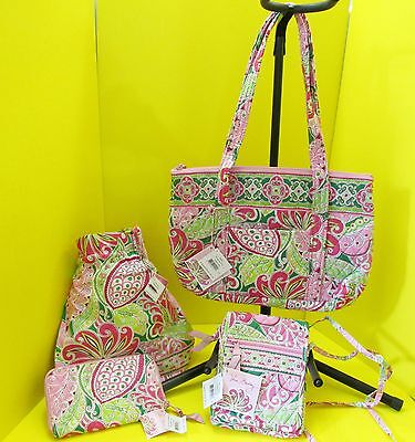 RETIRED VERA BRADLEY LOT Pinwheel Pink BETSY HIPSTER DITTY BAG ZIP WALLET NWT