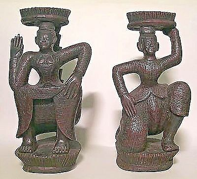 Pair of Asian Burmese Style (19/20th Cent.) Ebonized Carved Wood Dancing Figures