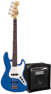 Squier Set Affinity Jazz Bass in Blau / Fender Rumble 15 Bass Amp + Zubehör