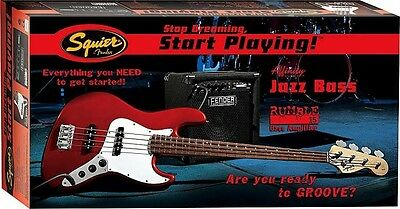 Squier Set Affinity Jazz Bass in Rot / Fender Rumble 15 Bass Amp + Zubehör