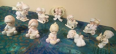 PRECIOUS MOMENTS Christmas Ornaments  10 Figurines Lot of Baby First/Our First