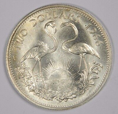 1966 The Bahamas 2 Dollars Silver Coin! Flashy Luster! - Classic! Inv#517