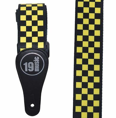 Yellow and Black Checkered Acoustic Electric Adjustable Guitar Strap Bass Ska