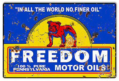 "Freedom Motor Oils Vintage Reproduction Large Gas Station Sign 16""x24"""