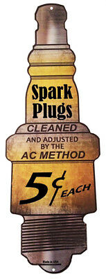 "Spark Plugs Gas Station Motor Oil Reproduction Sign 9""x24"""