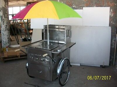 Classic New York City Stainless Steel Hot Dog Push Cart
