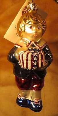 Victorian Boy with Gift Slavic Treasures New Retired Glass Christmas Ornament