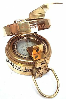 Lot of 5 Vintage Military British Prismatic Compass Solid Shiny Brass Finish