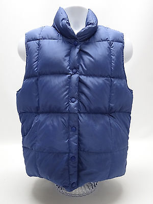 LANDS' END DOWN VEST WOMENS SMALL - 6-8 IN SOLID BLUE in EUC