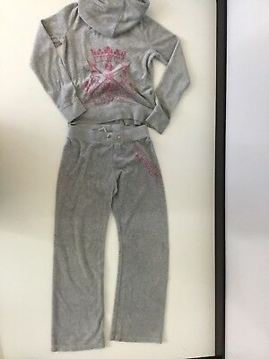 Juicy Couture Grey Velour Tracksuit Hoodie & Bottoms Age 8 Years