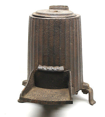 Antique 1865 Cast Iron 3 Leg Coal Stove w/ Lid Parlor Rail Car J.D. Lover N.Y.
