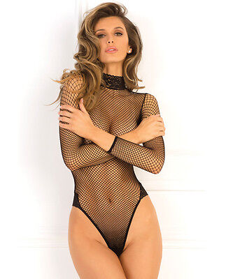 Fishnet Bodysuit High Neck & Thong Back Teddy S/m-M/l Black