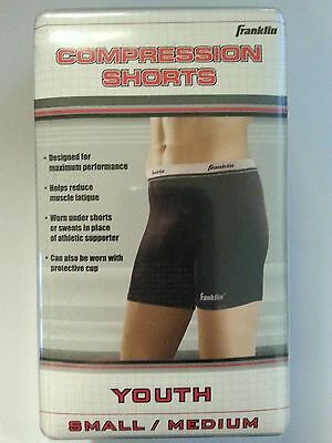 Compression Shorts Youth Size S Small / M Medium Waist 24 in. - 27 in Black New