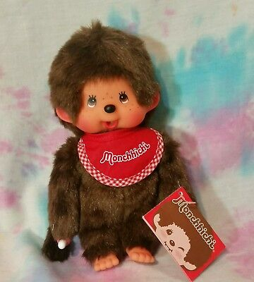 Monchhichi Plush Toy Doll NEW WITH TAGS 2014 Red Bib