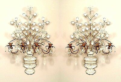 Pair of French Art Deco (Bagues) Gilt Metal and Rock Crystal 4 Arm Wall Sconces