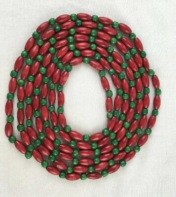 "Vintage 9 feet long Christmas Tree Garland Red & Green 1/4"" diameter Wood Beads"